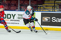 KELOWNA, CANADA - MARCH 13:  Ethan Ernst #19 of the Kelowna Rockets skates with the puck against the Spokane Chiefs on March 13, 2019 at Prospera Place in Kelowna, British Columbia, Canada.  (Photo by Marissa Baecker/Shoot the Breeze)