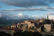 Corsica. France. Sartene, perched village on a montain , general view - In South Corsica France   / Sartene , village perché sur la montagne vue generale  Corse du sud - France