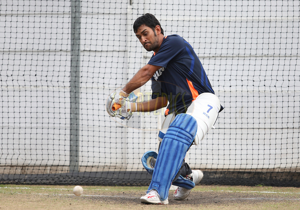 Mahendra Singh Dhoni (capt)during the South Africa and India team practice sessions held at Kingsmead Stadium in Durban on the 10 January 2011 ( The 1st ODI between South Africa and India is due to be held at Kingsmead Stadium on the 12th January 2011 )..Photo by Steve Haag/BCCI/SPORTZPICS