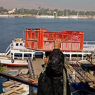 ferry boat . boats and felouqs on the Nile   Louxor - Egypte    /  ferry, bateaux et fellouques sur le nil  Louqsor - Egypt