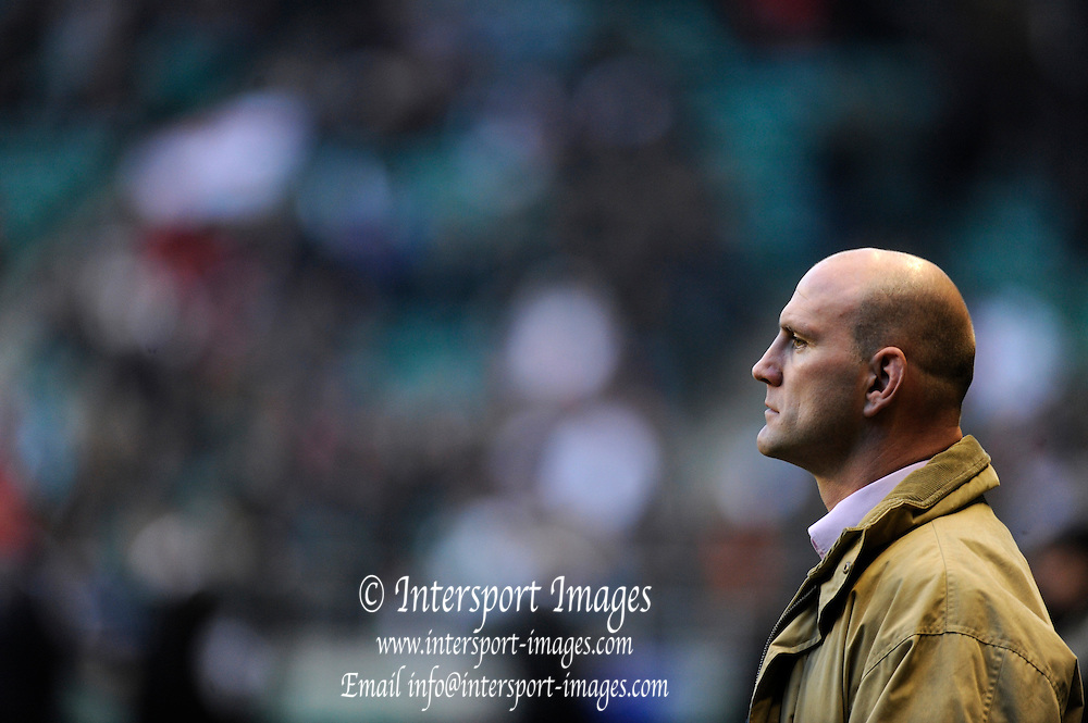 Twickenham. Great Britain,  Lawrence DALLAGLIO, watches as England warm up before the game. during the Six Nations Rugby, England vs Wales, match played at the RFU Stadium, England on SAT. 06/02/2010  [Mandatory Credit. Peter Spurrier/Intersport Images]