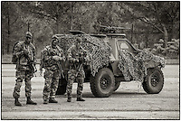 Foreign Legionnaires at Carpiagne camp (South East france) <br /> They are equipped with FELIN (Integrated Infantryman Equipment and Communication) combining a modified FAMAS rifle with a lot of electronic devices.