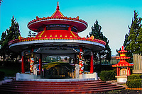 Indonesia, Java, Bandung. The Chinese cemetery Kuburan Cikadut with its huge colourful structures and pagodes.