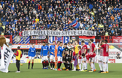 Fan hold up a banner directed at Steve Clarke during the Scottish Premiership match at the Superseal Stadium, Hamilton.