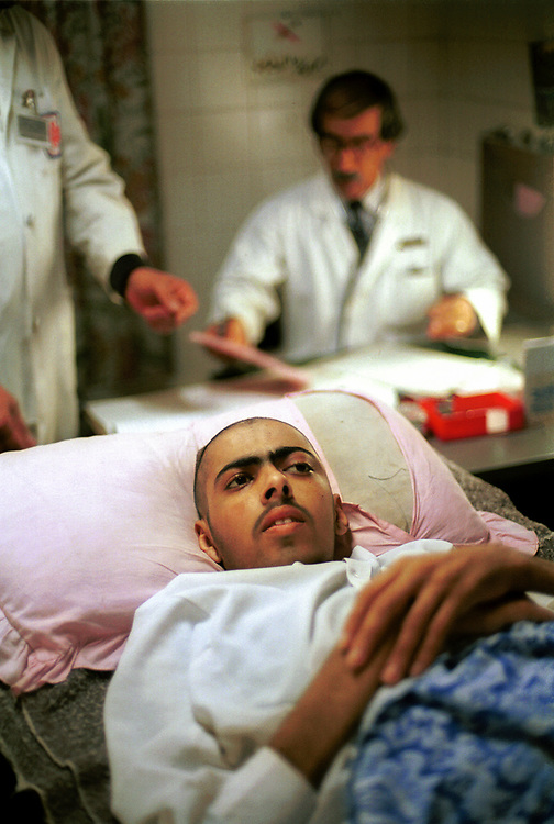 A soldier arrives at the Basrah medical college hospital for treatment of rectum and stomach cancer.  Cancer rates have raised exponentially in the region of Basrah, which was heavily bombed with depleted uranium weapons during the Gulf War.  <br />