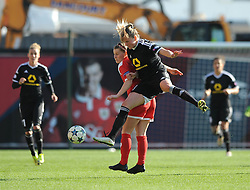 Bristol Academy's Nikki Watts  challenges for the header with FFC Frankfurt's Ana Maria Crnogorcevic - Photo mandatory by-line: Dougie Allward/JMP - Mobile: 07966 386802 - 21/03/2015 - SPORT - Football - Bristol - Ashton Gate Stadium - Bristol Academy v FFC Frankfurt - UEFA Women's Champions League - Quarter Final - First Leg