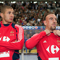 05 September 2009: French subsitutes Karim Benzema and Franck Ribery are seen prior to the World Cup 2010 qualifying football match France vs. Romania (1-1), on September 5, 2009 at the Stade de France stadium in Saint-Denis, near Paris, France.