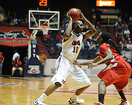 """Ole Miss' LaDarius White (10) vs. Illinois State's Bryant Allen (2) in a National Invitational Tournament game at the C.M. """"Tad"""" Smith Coliseum in Oxford, Miss. on Wednesday, March 14, 2012. (AP Photo/Oxford Eagle, Bruce Newman)"""