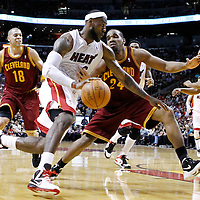 24 January 2012: Miami Heat small forward LeBron James (6) drives past Cleveland Cavaliers power forward Samardo Samuels (24) during the Miami Heat 92-85 victory over the Cleveland Cavaliers at the AmericanAirlines Arena, Miami, Florida, USA.