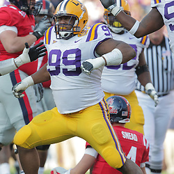 22 November 2008: LSU defensive tackle Marlon Favorite (99) celebrates following a sack of Mississippi quarterback Jevan Snead (4) during the first half of the NCAA football game between the Ole Miss Rebels and the LSU Tigers at Tiger Stadium in Baton Rouge, LA.