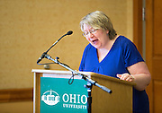 Dr. Pam Benoit, executive vice president and provost, speaks at the Presidential Teacher award ceremony in Baker Center, on Monday, September 31, 2015. Photo by Kaitlin Owens