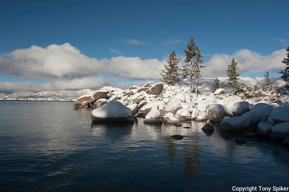 """Winter at Sand Harbor 2"" - A landscape photograph of snow covered boulders taken at Sand Harbor, Lake Tahoe after a winter storm"