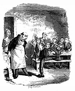 Oliver Twist causing a sensation in the children's ward of the workhouse by asking for a second helping of porridge. In the background starving companions polish their bowls and spoons in their hunger. George Cruikshank illustration for Charles Dickens 'Oliver Twist', London, 1837-38. Engraving.