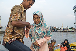 September 1, 2017 - Jakarta, Indonesia - Prayers of Eid al-Adha arrived by boat at Port of Sunda Kelapa in Jakarta, Indonesia on September 1, 2017. This Muslim holy day also celebrated with Haj pilgrimage and slaughtering Halal livestock to remind prophet Abraham who ready to sacrifice his son. (Credit Image: © Anton Raharjo/NurPhoto via ZUMA Press)