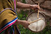 Drummer welcoming visitors to Misminay village; Sacred Vally, Peru.
