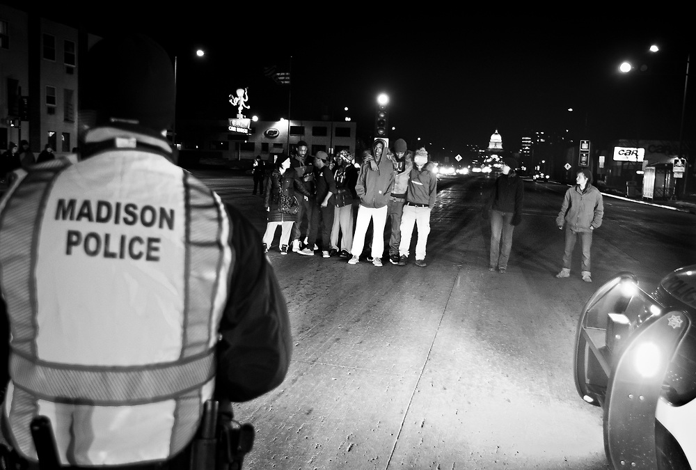 Protestors block traffic on East Washington Avenue in Madison, Wisconsin on Sunday night for Tony Robinson, March 8, 2015. Robinson was an unarmed black teen shot on Friday by Madison Police inside his home. REUTERS/Ben Brewer (UNITED STATES)