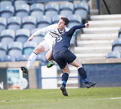 Raith Rovers Grant Anderson brought down by Falkirk's Mark Millar for a penalty.<br /> Half time : Raith Rovers 2 v 1 Falkirk, Scottish Championship game today at Starks Park.<br /> &copy; Michael Schofield.