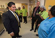 Houston ISD Superintendent Richard Carranza visits Carnegie Vanguard High School on the first day of school, August 22, 2016.
