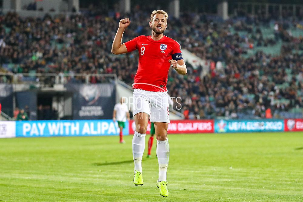Goal England forward Harry Kane scores a goal and celebrates 0-5 during the UEFA European 2020 Qualifier match between Bulgaria and England at Stadion Vasil Levski, Sofia, Bulgaria on 14 October 2019.