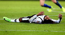 Ikechi Anya of Derby County looks frustrated as he lies on the floor - Mandatory by-line: Robbie Stephenson/JMP - 08/02/2017 - FOOTBALL - King Power Stadium - Leicester, England - Leicester City v Derby County - Emirates FA Cup fourth round replay