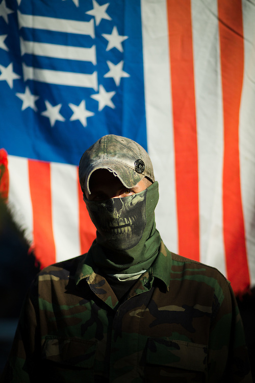 Militia members from the several states, all of whom identify as part of the III% movement, gather near Jackson, Ga. on Saturday, Oct. 29, 2016 for training exercises. Daniel Potts, who goes by Rhino and a member of the Georgia Security Force III%, poses for a portrait. Photo by Kevin D. Liles for The New York Times