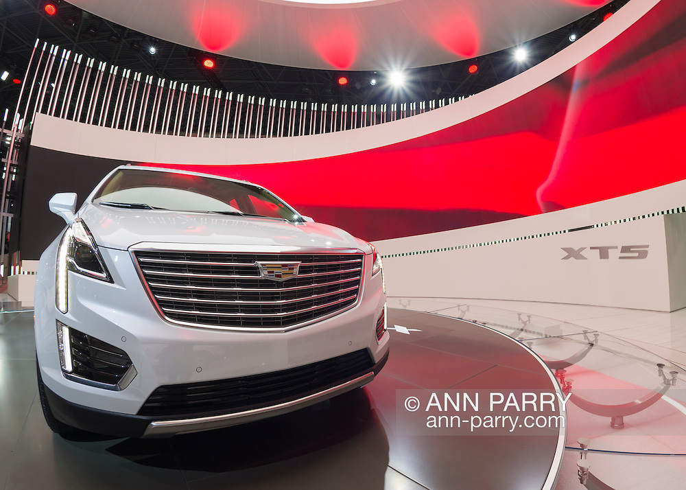 A white 2017 Cadillac XT5 SUV is shown at the New York International Auto Show 2016, at the Jacob Javits Center. This was Press Preview Day one of NYIAS, and the Trade Show will be open to the public for ten days, March 25th through April 3rd.