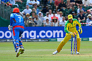 Wicket - Mohammad Nabi of Afghanistan is run out by Steven Smith of Australia during the ICC Cricket World Cup 2019 match between Afghanistan and Australia at the Bristol County Ground, Bristol, United Kingdom on 1 June 2019.