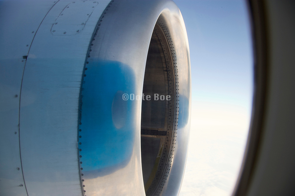 engine of an airplane in flight