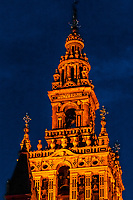 Giralda Tower predawn, Seville, Andalusia, Spain.