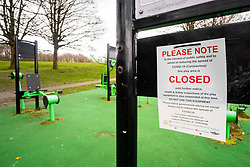 Chapeltown park Sheffield Monday 30 March 2020 Open air Gym equipment 7 Days after emergency measures were announced by Prime minister Boris Johnson on the evening of  Monday 23rd March<br /> <br /> 30 March 2020<br /> <br /> www.pauldaviddrabble.co.uk<br /> All Images Copyright Paul David Drabble - <br /> All rights Reserved - <br /> Moral Rights Asserted -