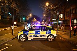 © Licensed to London News Pictures. 28/03/2019. London, UK. The scene at Cunningham Place in London NW8 after a man was stabbed to death. Armed police have been seen in the vicinity of nearby Regents Park Mosque as they look for suspects. Photo credit: Ben Cawthra/LNP