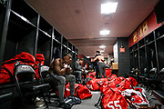 Georgia players reflect in the locker room after the end of the 2018 College Football Playoff National Championship game between the Alabama Crimson Tide and the Georgia Bulldogs in Mercedes-Benz Stadium in Atlanta, Georgia, on Monday, Jan. 8, 2018. Alabama beat Georgia 26-23 in overtime after being down 13-0 at halftime. (Photo/Casey Sykes, www.caseysykes.com)