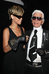 Rihanna and Karl Lagerfeld attending the Karl Lagerfeld's Spring-Summer 2010 ready-to-wear collection show in Paris, France on October 4, 2009. Photo by Denis Guignebourg/ABACAPRESS.COM