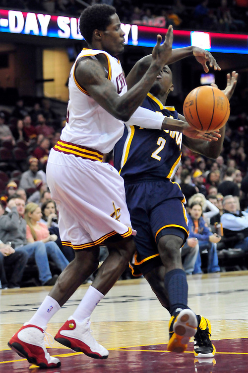 Feb. 2, 2011; Cleveland, OH, USA; Cleveland Cavaliers guard Manny Harris (6) fouls Indiana Pacers point guard Darren Collison (2) during the first quarter at Quicken Loans Arena. Mandatory Credit: Jason Miller-US PRESSWIRE