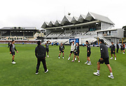 Black Caps players during football warm ups.<br /> New Zealand Black Caps v Bangladesh, International cricket. 2nd test match. Basin Reserve, Wellington, New Zealand. Saturday 9 March 2019. © Copyright photo: Andrew Cornaga / www.photosport.nz