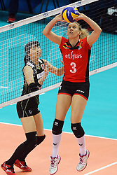 Belgium Frauke Dirickx sets a ball