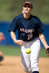 Virginia Cavaliers OF Whitney Holstun (16) pitching against Towson.  The Virginia Cavaliers Softball team faced the Towson University Tigers on April 3, 2007 at The Park in Charlottesville, VA.