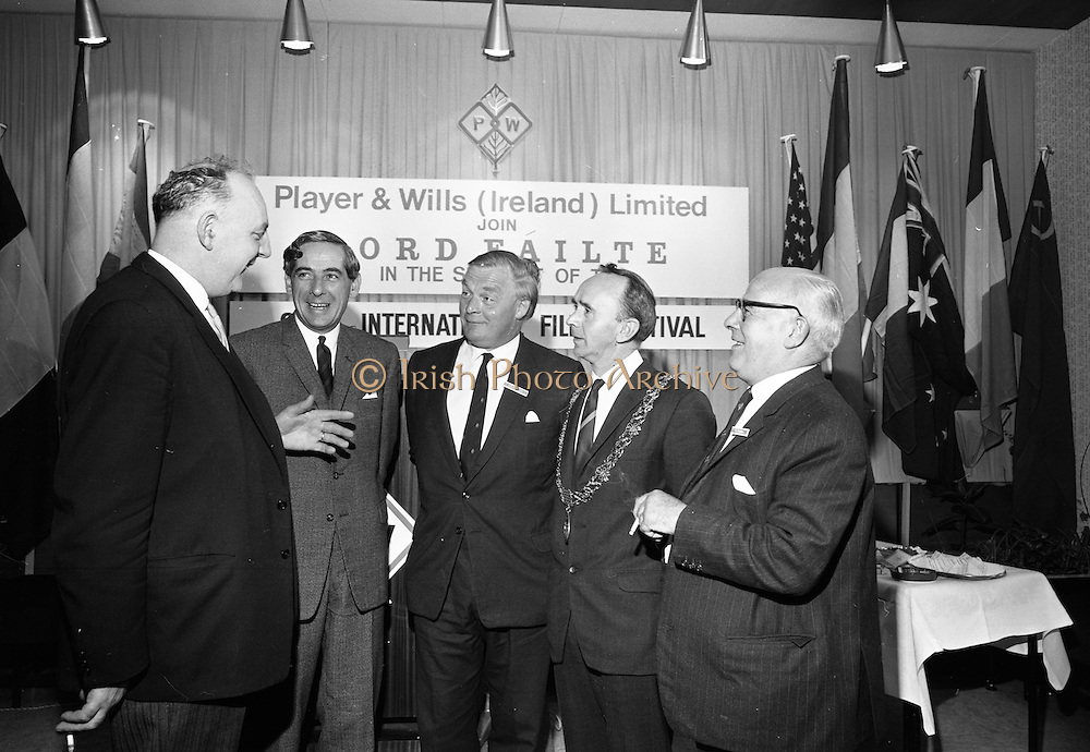 17/08/1967<br /> 08/17/1967<br /> 17 August 1967<br /> Player and Wills (Ireland) Ltd. give development grant to Cork Film Festival at Player and Wills headquarters, South Circular Road, Dublin. Picture shows Mr. Frank O'Reilly, (2nd from left), Chairman, chatting with from left; Councillor T. Stafford P.C. Lord Mayor of Dublin; Mr. A. Buttanshaw, Managing Director Player and Wills (Ireland) Ltd.; Alderman Pearse Wyse T.D., Lord Mayor of Cork and Mr. E.K. Behave, Director, Player Wills (Ireland) Ltd. at the reception.
