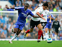 Chelsea v Fulham. Barclays Premier League. 29/09/2007. Seol Ki-Hyeon of Fulham and Salomon Kalou of Chelsea with the ball