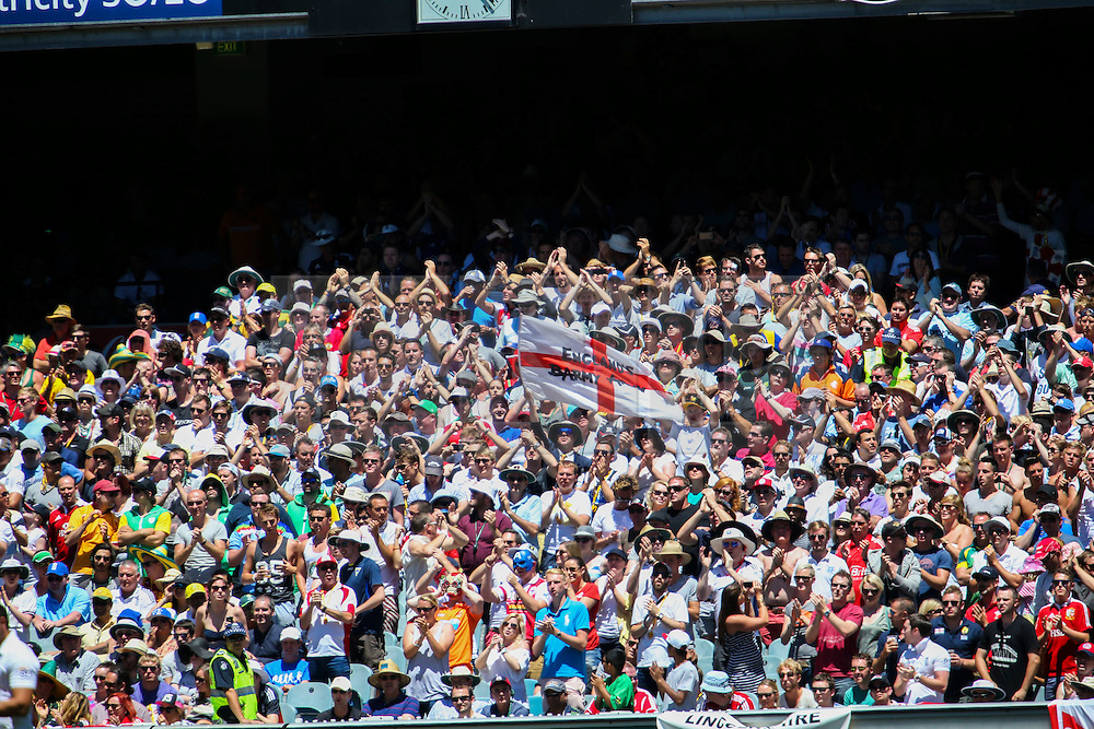 © Licensed to London News Pictures. 29/12/2013. Barmy Army supporters  during Day 4 of the Ashes Boxing Day Test Match between Australia Vs England at the MCG on 29 December, 2013 in Melbourne, Australia. Photo credit : Asanka Brendon Ratnayake/LNP