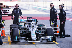 February 18, 2019 - Barcelona, Barcelona, Spain - Valtteri Bottas fo Finland with 77 of Mercedes AMG Petronas Motorsport W10 in action at the pitlane during the Formula 1 2019 Pre-Season Tests at Circuit de Barcelona - Catalunya in Montmelo, Spain on February 18, 2019. (Credit Image: © Xavier Bonilla/NurPhoto via ZUMA Press)