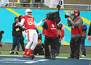 Jan 27, 2019; Orlando, FL, USA; AFC tight end Eric Ebron of the Indianapolis Colts (85) celebrates after scoring a touchdown in the NFL Pro Bowl football game at Camping World Stadium.  The AFC beat the NFC 26-7. (Steve Jacobson/Image of Sport)