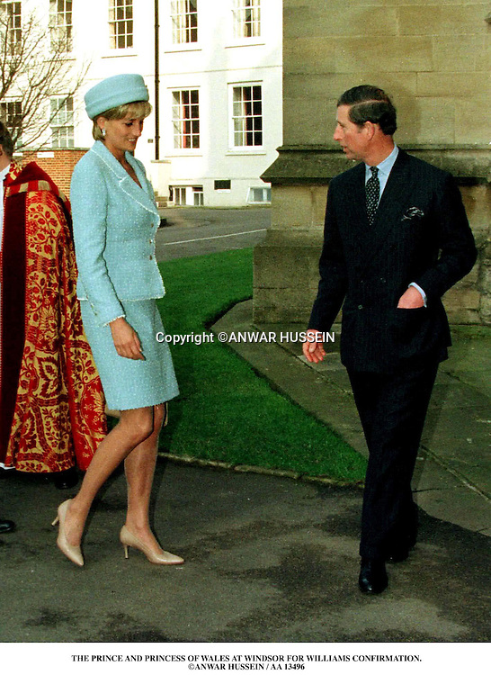 Diana and Charles arrive at St George,s Chapel,Windsor Castle  for Prince William,s confirmation.ANWAR HUSSEIN