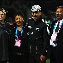 AUCKLAND, NEW ZEALAND - OCTOBER 09:  Mils Muliaina of the All Blacks who received his 100th cap poses with his family during quarter final four of the 2011 IRB Rugby World Cup between New Zealand and Argentina at Eden Park on October 9, 2011 in Auckland, New Zealand.  (Photo by Phil Walter-Pool/Getty Images)