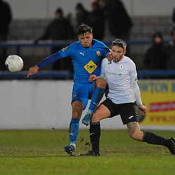 TELFORD COPYRIGHT MIKE SHERIDAN Zak Lilly battles for the ball during the FA Trophy Round 1 fixture between AFC Telford United and Leamington at the New Bucks head Stadium on Tuesday, December 17, 2019.<br /> <br /> Picture credit: Mike Sheridan/Ultrapress<br /> <br /> MS201920-034