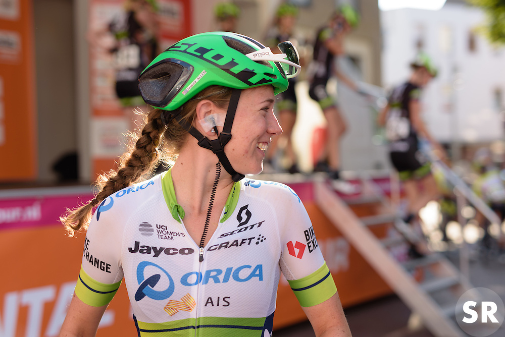 Jessica Allen leads Orica AIS to the stage at the 103 km Stage 1 of the Boels Ladies Tour 2016 on 30th August 2016 in Tiel, Netherlands. (Photo by Sean Robinson/Velofocus).