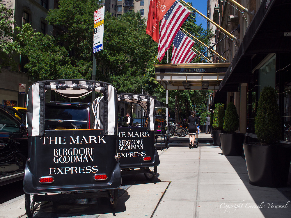 The Mark hotel with pedicabs to shuttle guests to the Bergdorf Goodman department store.