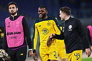 Oliver Ntcham (C) and James Forrest (R) talk each other (on the left goalkeeper Craig Gordon) during the UEFA Europa League, Group E football match between SS Lazio and Celtic FC on November 7, 2019 at Stadio Olimpico in Rome, Italy - Photo Federico Proietti / ProSportsImages / DPPI