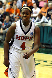 20 March 2010: Philana Greene fights to hold back tears and emotions as the buzzer sounds leaving the Flying Dutch in 2nd place and ending her collegiate career. The Flying Dutch of Hope College fall to the Bears of Washington University 65-59 in the Championship Game of the Division 3 Women's NCAA Basketball Championship the at the Shirk Center at Illinois Wesleyan in Bloomington Illinois.