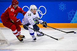 16-02-2018 KOR: Olympic Games day 7, PyeongChang<br /> Ice Hockey Russia (OAR) - Slovenia / defenseman Nikita Nesterov #89 of Olympic Athlete from Russia, forward Ales Music #16 of Slovenia